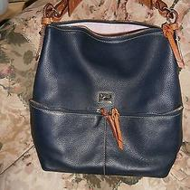 Dooney and Bourke Navy Blue Pebble Leather Dillen Hobo/tote  Photo