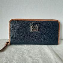 Dooney and Bourke Navy Pebble Leather Zippered Clutch Wallet  Photo