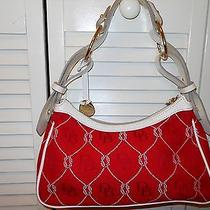 Dooney and Bourke Red Cloth Handbag White Leather Trim Photo