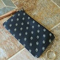Dooney and Bourke Slim Wristlet Black / Beige Db Logo Clutch K Chain Photo