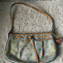 Dooney and Bourke Vintage Blue Multicolor Logo Purse Tassel Shoulder Bag Photo