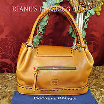 Dooney and Bourke Wow Natural Florentine Leather Flap Satchel Purse   Amazing Photo