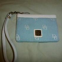 Dooney and Bourke Wristlet Blue With White Leather Trim Photo