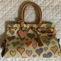 Dooney & Bourke Baguette Yellow Hearts Mini Handbag Purse Bag Charm Leather Photo