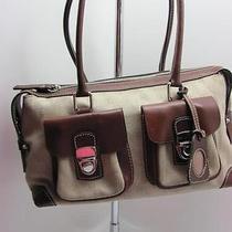 Dooney Bourke Beige Db Fabric and Leather Shoulderbag Handbag Satchel Photo