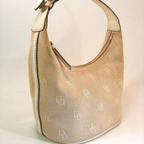 Dooney & Bourke Beige Leather Canvas Jacquard Logo Handbag  Photo