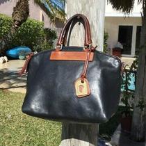 Dooney & Bourke Black & Brown Leather Zip Top Purse Shoulder Bag Photo