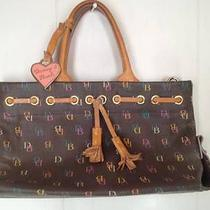 Dooney & Bourke Black Colorful Signature Logo Print Tassel Handbag Purse Bag Photo
