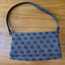 Dooney & Bourke Black/gray Canvas Leather Trim Flap Baguette Shoulder Bag Vtg  Photo