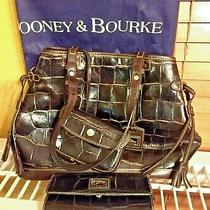 Dooney & Bourke Black Leather Croc Strap Bag Tote W/ Checkbook Wallet & Key Fob Photo