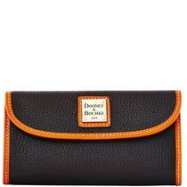 Dooney & Bourke Black/tan Leather Pebble Grain Continental Clutch Wallet - New Photo