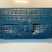 Dooney & Bourke Blue Faux Croc Leather Clutch Shoulder Bag Euc Photo