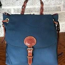 Dooney & Bourke Blue Nylon Leather Backpack Shoulder Bag Purse Handbag Tote Photo