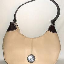 Dooney & Bourke Bone & Brown Leather  O-Ring Hobo New Photo