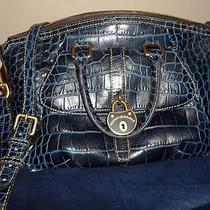Dooney & Bourke Campbell Croc Embossed Leather Satchel Blue  Photo