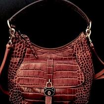 Dooney & Bourke Campbell Hobo A258241 Brown Croco Leather Photo