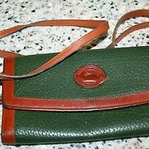 Dooney & Bourke Checkbook Clutch Wallet green&brown All Weather Leather Continen Photo