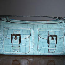 dooney&bourke Croco Embossed Leather Handbagaqua Color Mint Condition Photo