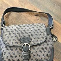 Dooney & Bourke Db Signature Canvas/leather Shoulder Bag Purse Gray and Black Photo