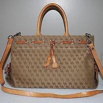 Dooney & Bourke Db Signature Tassel Brown Canvas Tan Leather Trim Handbag Photo