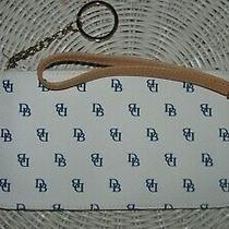 Dooney & Bourke Dbs Wristlet Clutch Bag With Key Chain Cream Navy and Tan Photo