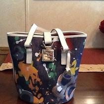 Dooney & Bourke Denim Paint Splatter Bucket Handbag Photo