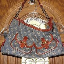 Dooney & Bourke Denim With Dark Brown Leather Trim Photo