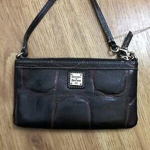 Dooney & Bourke Denison Wristlet Wallet Brown Croc Leather Photo