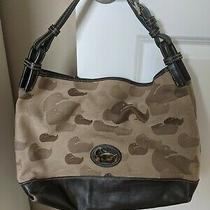 Dooney Bourke Duck Brown Leather Signature Handbag Tote Bag Canvas Jacquard Rare Photo