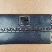 Dooney & Bourke Florentine Leather Continental Clutch Wallet Navy Qvc  168 Photo