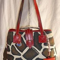 Dooney & Bourke Giraffe Print Canvas Purse Tote Handbag Red Leather Trim Large Photo