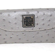 Dooney & Bourke Grey Ostrich Embossed Leather Continental Clutch Wallet Nwt 128 Photo