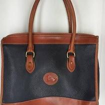 Dooney & Bourke Handbag Leather Blue Tan Brown Awl Double Handle Purse Photo