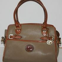 Dooney & Bourke Handbag Satchel Taupe Brown Leather Medium Free Shipping Photo