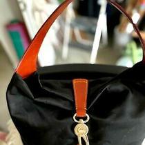 Dooney & Bourke J10587288 Black Microfiber & Brown Leather Hobo Bag Photo
