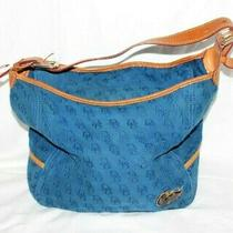 Dooney & Bourke Large Tote Bag Satchel Blue Purse Leather Brown Duck Logo 12x12