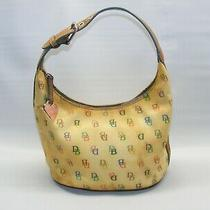 Dooney & Bourke Leather Bucket Hobo Handbag Signature Yellow Rainbow Zip Purse Photo