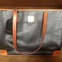 Dooney & Bourke Leather Shoulder Bag Purse Handbag Tote Navy Blue  Photo