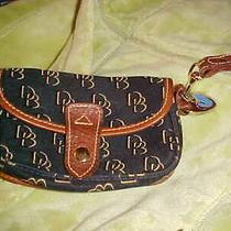 Dooney Bourke Logo Wristlet Signature Canvas Leather Duck Brown Navy Vintage Photo