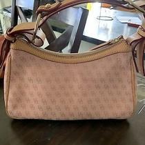Dooney & Bourke Medium Monogram Hobo Bag in Pink Cotton W/leather Accent - H402c Photo