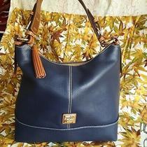 Dooney & Bourke Midnight Blue Pebbled Leather Shoulder Bag Hobo. Photo