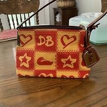 Dooney & Bourke Mini Sac Logo Db Cloth Purse Red/yellow Leather Strap Photo
