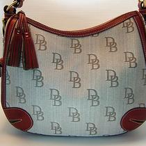 Dooney Bourke Pocket Hobo Signature Jacquard Florentine Leather Red Brown Nwt Photo