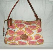 Dooney Bourke Purse Handbag Bag Grapefruit Pomelo Clutch Logo Pink White Orange Photo