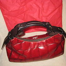 Dooney & Bourke Red Croco Embossed Hobo Bag Photo