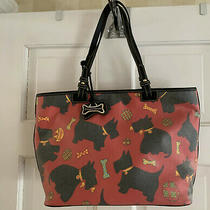 Dooney & Bourke Scottie Red Dog Bag Purse With Logo Tag Tote Euc Photo