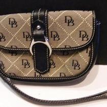 Dooney & Bourke Signature Db Wristlet Wrist Wallet Grey Jaquard Black Leather Photo