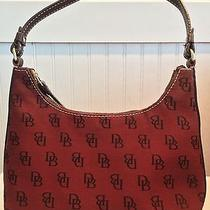 Dooney & Bourke Signature Mini Hobo Shoulder Bag Maroon (Red) Canvas Photo