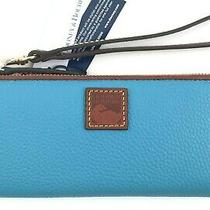 Dooney & Bourke Sky Blue Zip Around Wristlet Convertible to Wallet R148 Photo