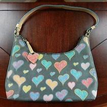 Dooney & Bourke Small Bitsy Bag Handbag Black Scribble Hearts Shoulder Purse Photo